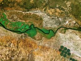Река Окаванго образует границу между Намибией на юге и севере Анголы KARI / ESA